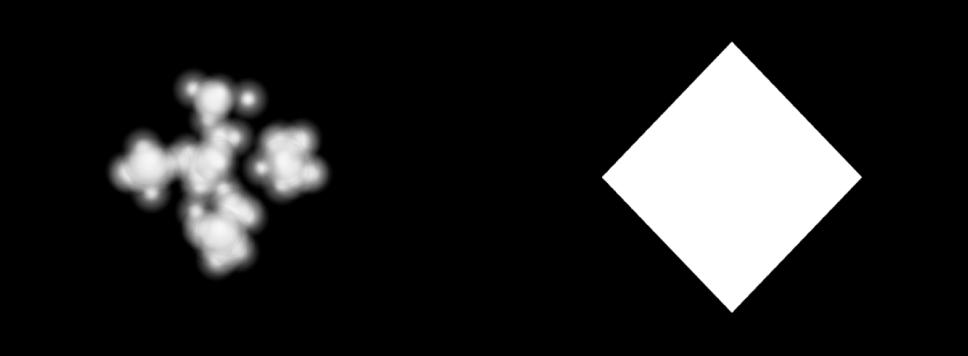 """Canvas mit einem Partikelsystem, dessen Form auf """"Bild"""" eingestellt ist."""