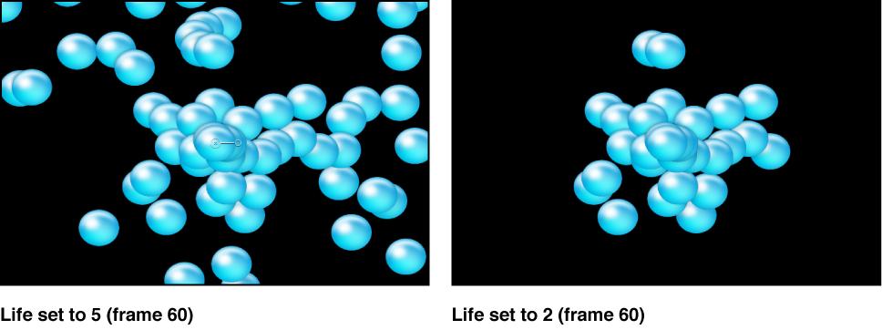 "Canvas mit dem Effekt des Parameters ""Lebensdauer""."