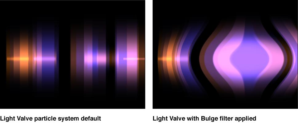 Canvas mit einem auf einen Partikelemitter angewendeten Filter.