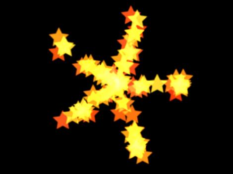 """Canvas mit einem Partikelsystem, dessen Form auf """"Explosion"""" eingestellt ist."""