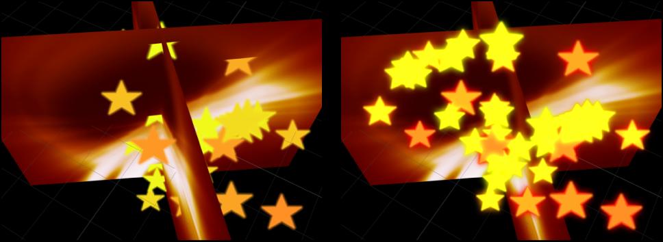 Canvas mit den Auswirkungen der Rasterung auf 3D-Partikel.
