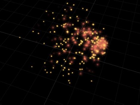 Canvas mit sich im 3D-Raum bewegenden Partikeln.