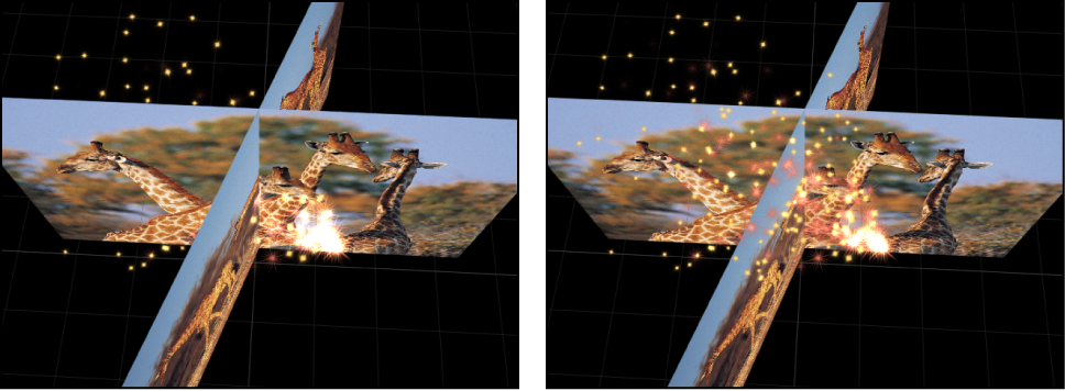 """Canvas mit Anzeige der Auswirkungen der Einstellungen """"In globalem 3D"""" und """"In lokalem 3D""""."""