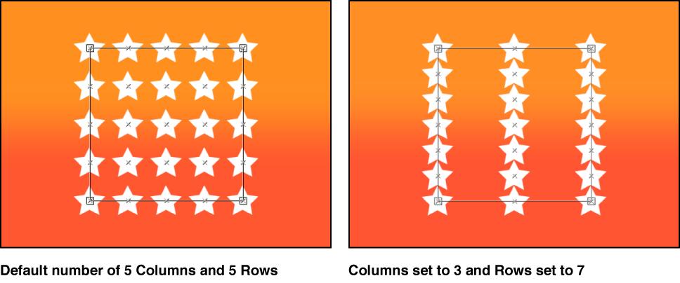 Canvas mit dem Replikator und verschiedener Anzahl von Zeilen und Spalten.