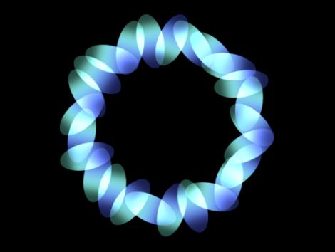 """Canvas mit einem Replikator, für den eine Kreisform definiert und der Parameter """"Anordnung"""" auf """"Kontur"""" eingestellt wurde."""