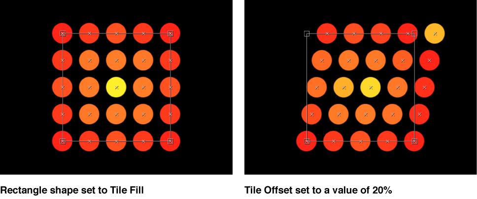 """Canvas-Fenster, das einen Replikator mit auf """"Kachelfüllung"""" bzw. """"Kachelversatz"""" mit 20 % eingestellten Parameter """"Anordnung"""" zeigt."""