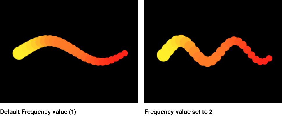 """Canvas mit einem Replikator, für den die Form """"Welle"""" unter Verwendung verschiedener Frequenzen eingestellt wurde."""