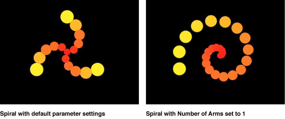 Vergleich spiralförmiger Replikatoren im Canvas, bei denen die Anzahl der Arme auf 0,25 und 1 eingestellt ist.