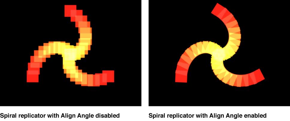 """Vergleich spiralförmiger Replikatoren im Canvas, bei denen die Option """"Winkel ausrichten"""" deaktiviert bzw. aktiviert ist."""