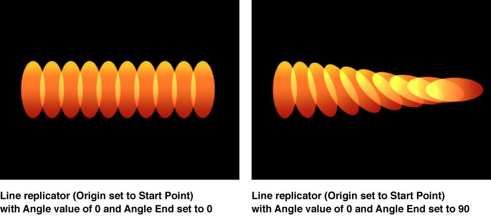 """Canvas mit dem Replikator """"Linie"""", bei dem für """"Winkelende"""" ein anderer Wert als für """"Winkel"""" festgelegt wurde."""