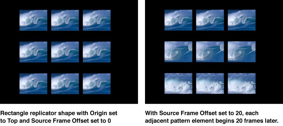 Canvas mit einem Replikator, auf den ein Versatz des Ausgangsbilds angewendet wurde.