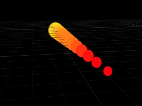 """Canvas mit dem Replikator """"Linie"""", bei dem die Anfangs- und Endpunkte auf unterschiedliche Punkte auf der Z-Achse eingestellt sind."""
