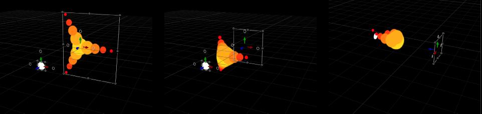 """Canvas mit einem Replikator, bei dem sich Elemente des Musters im 3D-Raum auf ein anderes Objekt zu bewegen (mit angewendetem Verhalten """"Anziehungskraft)."""