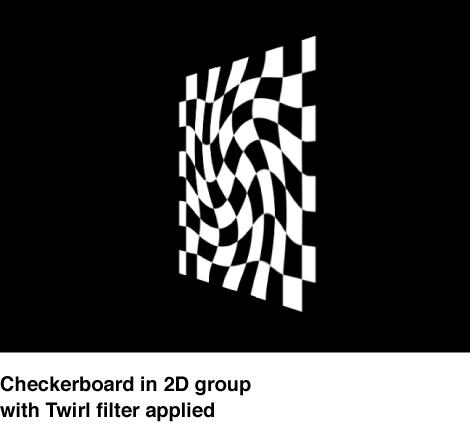 """Canvas mit einem Schachbrettmuster in einer 2D-Gruppe, auf das der Filter """"Wirbel"""" angewendet wurde."""