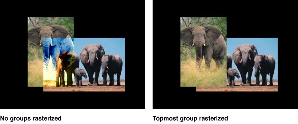 Canvas mit 2D-Gruppen vor und nach der Rasterung.