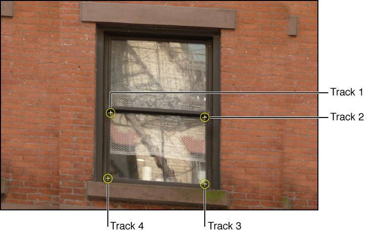 Canvas mit einem Objekt mit angewendeten vier Trackern.