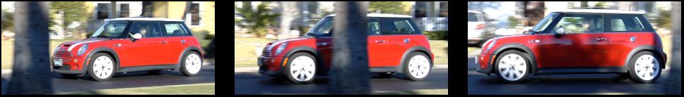 Sequenzielle Bilder eines hinter einem Baum vorbeifahrenden Autos.