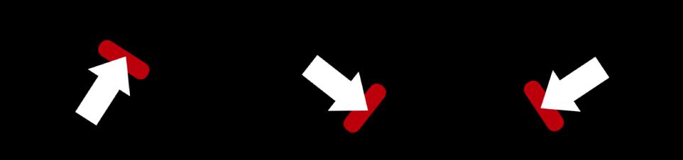 Canvas mit dem Pfeil und der roten Form, die als ein Objekt bewegt werden.