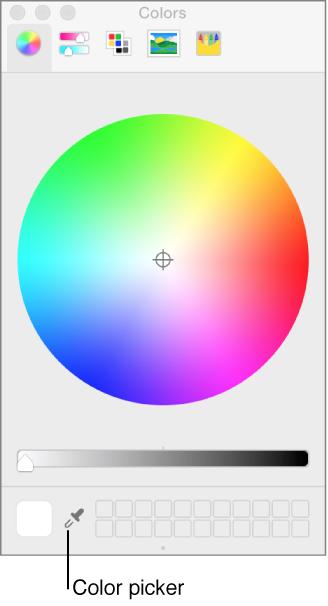 "Farbauswahl im OS X-Fenster ""Farben""."
