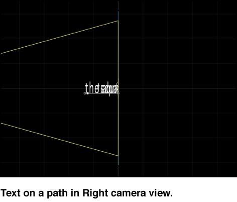 """Canvas mit der Kameraperspektive """"Rechts"""" für Text auf einem 3D-Pfad."""