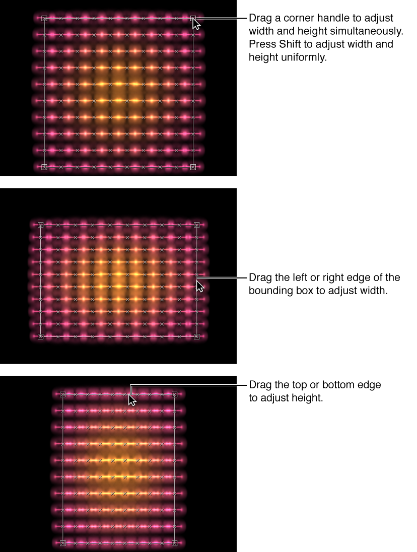 Canvas mit Replikatoren, die mithilfe der auf dem Bildschirm angezeigten Steuerelemente modifiziert werden.