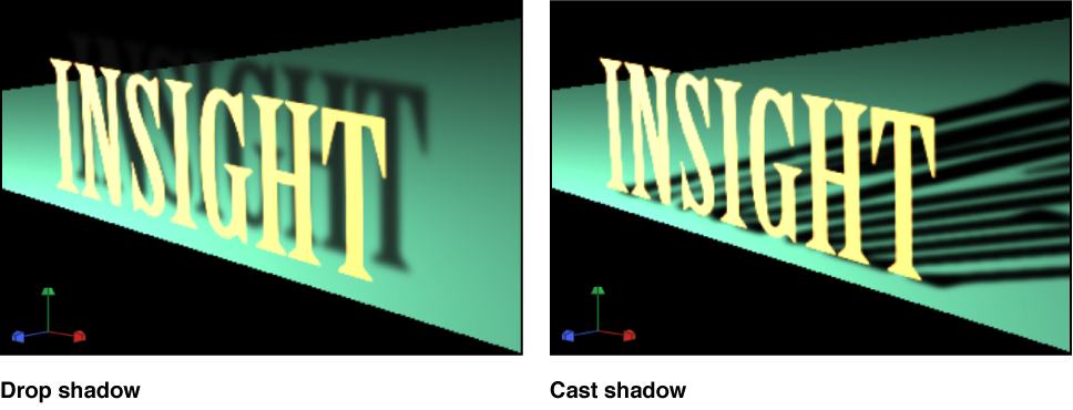 Canvas mit Beispielen für einen Schattenwurf und einen Schlagschatten.