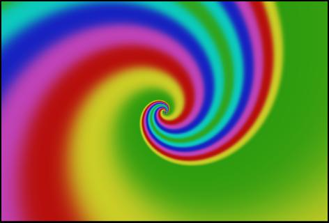 """Canvas mit dem Generator """"Spiralen"""", bei dem der Farbtyp """"auf """"Verlauf"""" eingestellt wurde"""