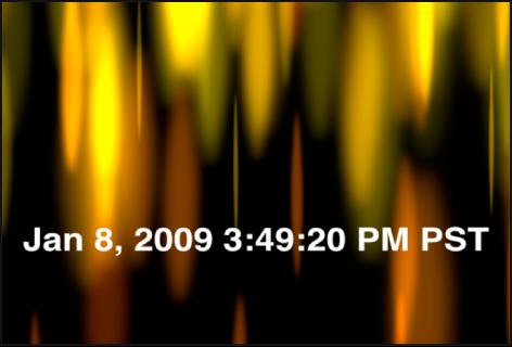 """Canvas mit dem Generator """"Uhrzeit Datum"""", der das Datum und die Uhrzeit in Stunden, Minuten und Sekunden sowie die Zeitzone anzeigt"""