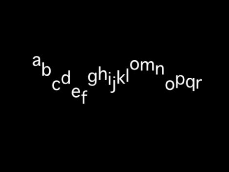 Canvas mit einer Textsequenz mit einem Versatz der Y-Position unter Verwendung eines hohen Varianzwerts.