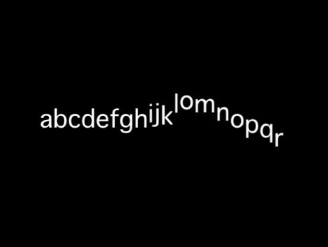 Canvas mit einer Textsequenz mit einem Versatz der Y-Position unter Verwendung eines niedrigen Varianzwerts.