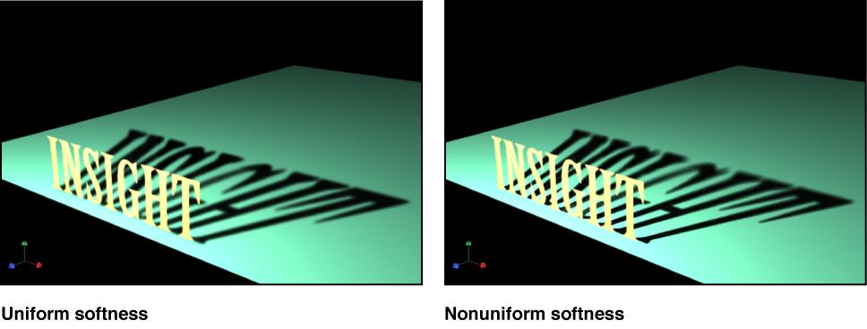 Canvas mit einem Objekt, bei dem die gleichmäßige Weichheit des Schattens aktiviert und deaktiviert ist.