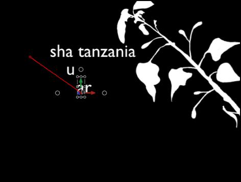 """Canvas mit dem Verhalten """"Sequenztext"""" mit Keyframes für den Parameter """"Position""""."""