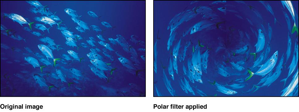 "Canvas mit dem Effekt des Filters ""Polar"""