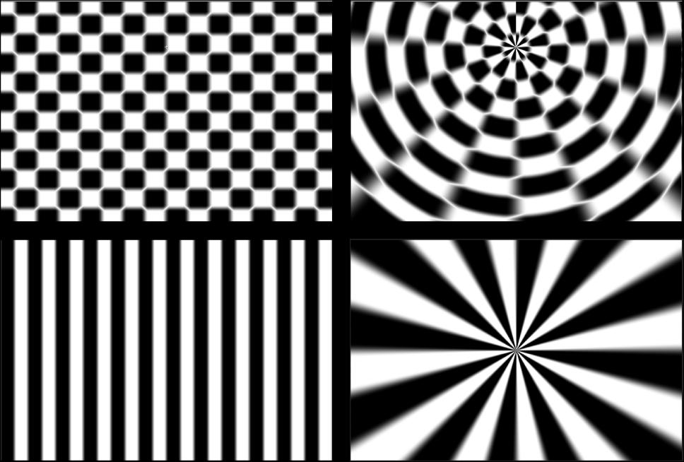 """Canvas mit dem Effekt des Filters """"Polar"""" auf den Generatoren """"Schachbrettmuster"""" und """"Streifen"""""""