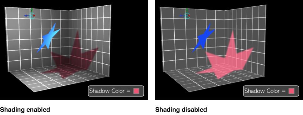 Canvas mit einem Schatten mit aktivierter bzw. deaktivierter Schattierung.