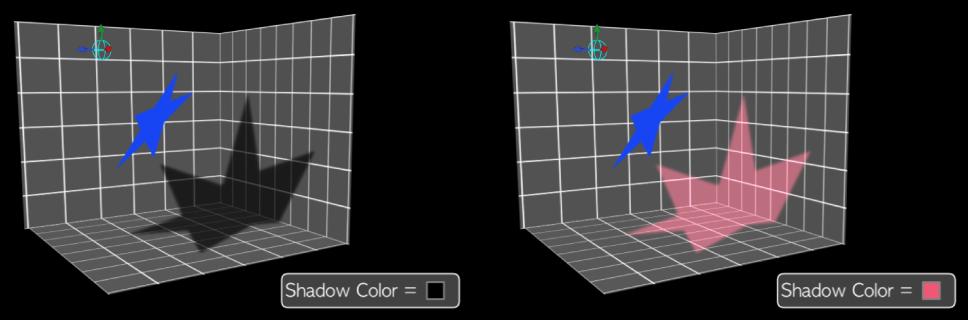 Canvas mit Schatten in unterschiedlichen Farben, bei denen die Schattierung deaktiviert ist.