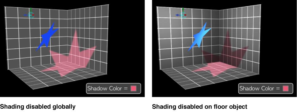 Canvas mit global deaktivierter Schattierung und deaktivierter Schattierung bei einem einzelnen Objekt.
