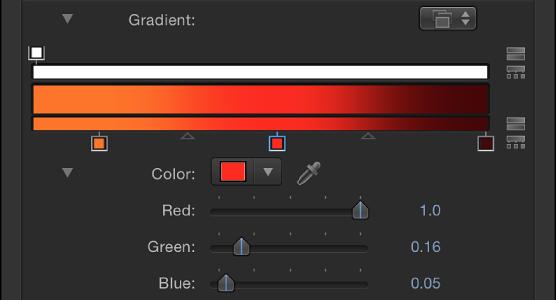 Verlaufseditor mit Farbsteuerelementen, nachdem ein Regler ausgewählt wurde.