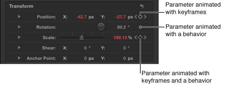 Das Informationsfenster zeigt ein Verhaltenssymbol in einer Parameterzeile, ein Keyframe-Symbol in einer Parameterzeile und ein Verhaltenssymbol innerhalb eines Keyframe-Symbols in einer Parameterzeile.
