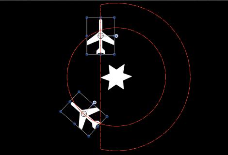 """Canvas mit dem Animationspfad, wenn das Verhalten """"Arretieren"""" auf eines der umkreisenden Objekte angewendet wird"""