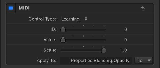 """Informationsfenster """"Verhalten"""" mit den Einstellungen für die Parameter """"MIDI"""""""