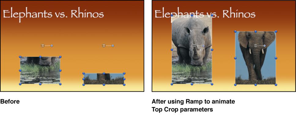 """Canvas mit dem Effekt der erzeugt wird, wenn das Verhalten """"Rampe"""" auf den Parameter """"Position"""" einer Maske angewendet wird"""