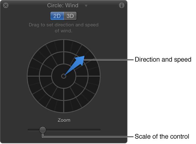 """Schwebepalette mit speziellen Steuerelementen für das Verhalten """"Wind"""" im 2D-Modus"""