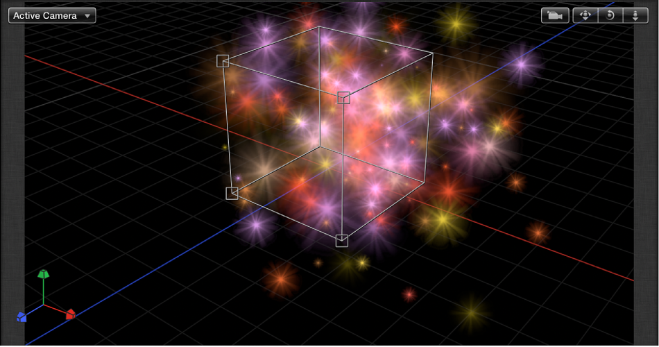 """Canvas mit einem Partikelsystem, dessen Form auf """"Box"""" eingestellt ist."""