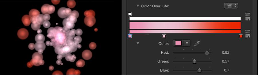 """Canvas und Informationsfenster mit einem Partikelsystem, das auf den Farbmodus """"Während Lebensdauer"""" eingestellt ist und wo der Verlauf zum Festlegen der Farben verwendet wird."""