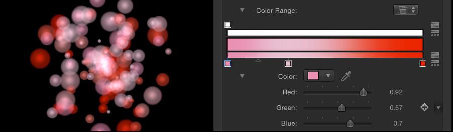 """Canvas und Informationsfenster mit einem Partikelsystem, das auf """"Farbbereich"""" eingestellt ist und wo der Verlauf zum Festlegen der Farben verwendet wird."""