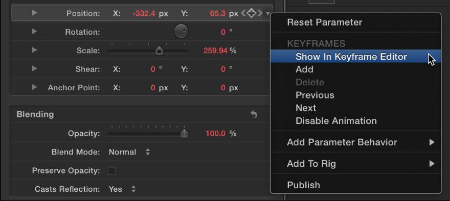 """Informationsfenster mit dem Befehl """"Im Keyframe-Editor zeigen"""" im Animationsmenü."""