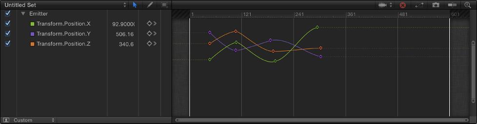 Unbenannte Kurvenreihe in der Timeline, die vom Informationsfenster gesendete Parameter zeigt.