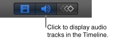 """Taste """"Audio ein- /ausblenden"""" in der Timeline."""
