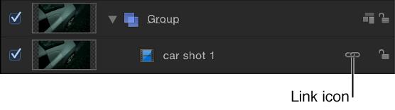 """Liste """"Ebenen"""" mit einem Objekt mit Link-Symbol, das die Verknüpfung mit einem Audioobjekt anzeigt."""